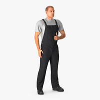 3D model worker wearing black overalls
