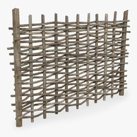 3D wooden wattle fence