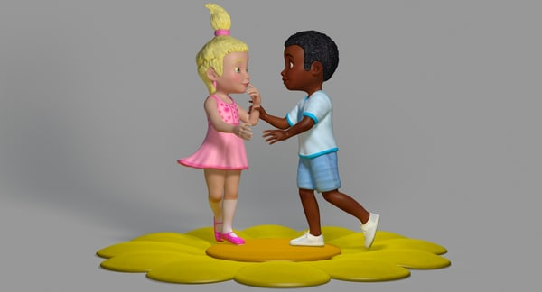 cartoon boy girl posed 3D model