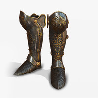medieval armor boots 3D