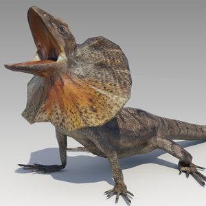 3D frill-necked lizard