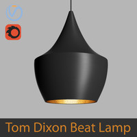 High Poly 3d model of Tom Dixon Beat Fat Pendant Black Lamp (Vray and Corona)