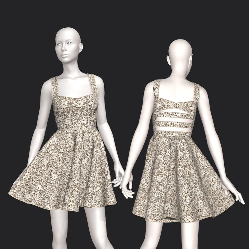 3D cute cut dress
