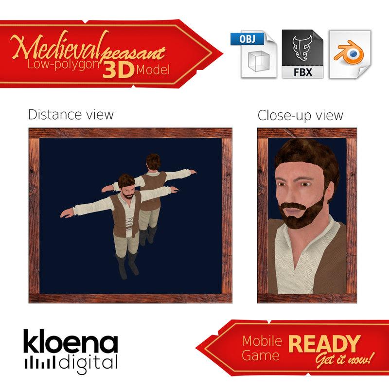 3D medieval peasant