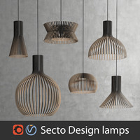 Scandinavian (finnish) Secto Design interior lamps set (Vray and Corona)