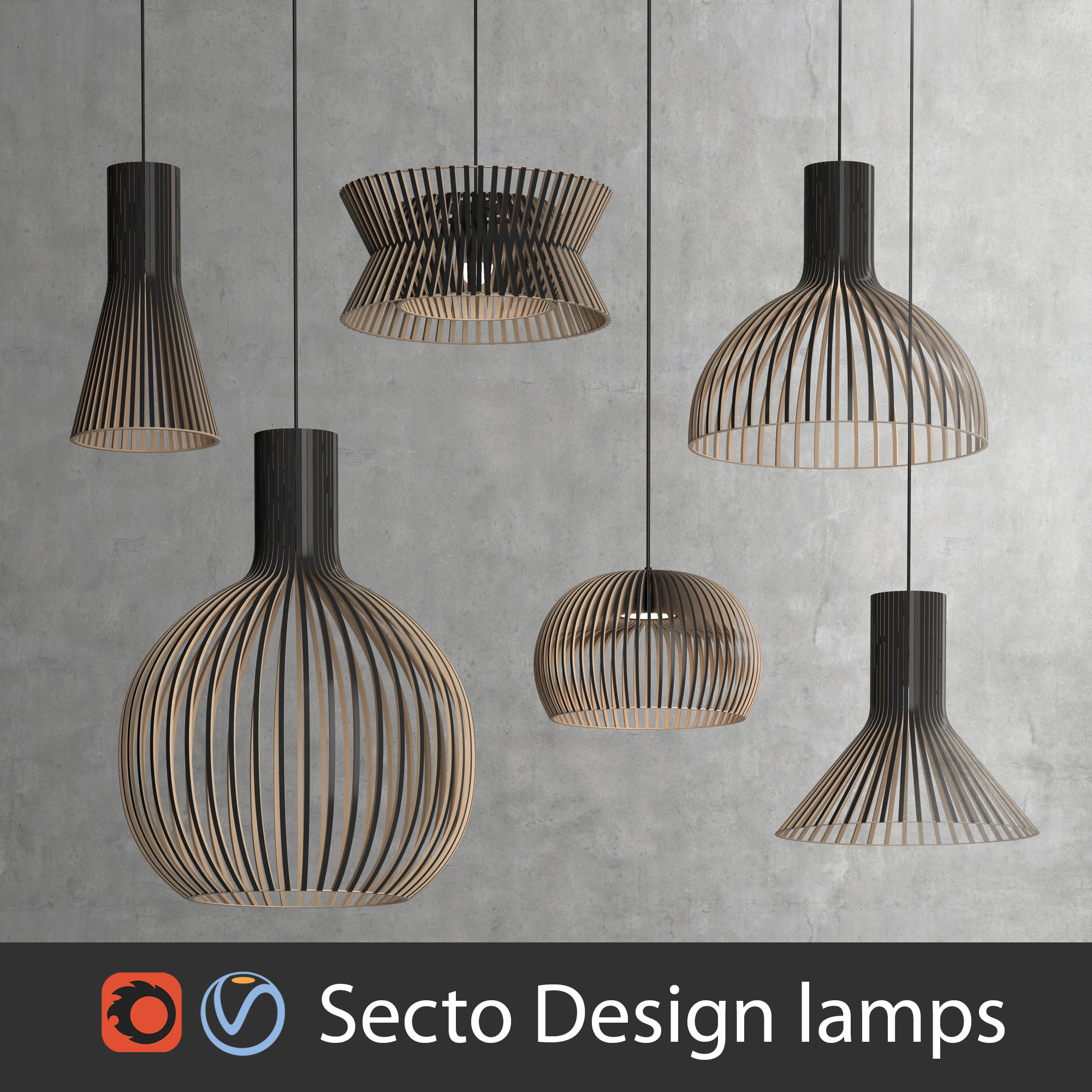 Scandinavian Finnish Secto Design Interior Lamps Set Vray And Corona