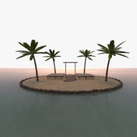 scene tropical island wedding 3D model