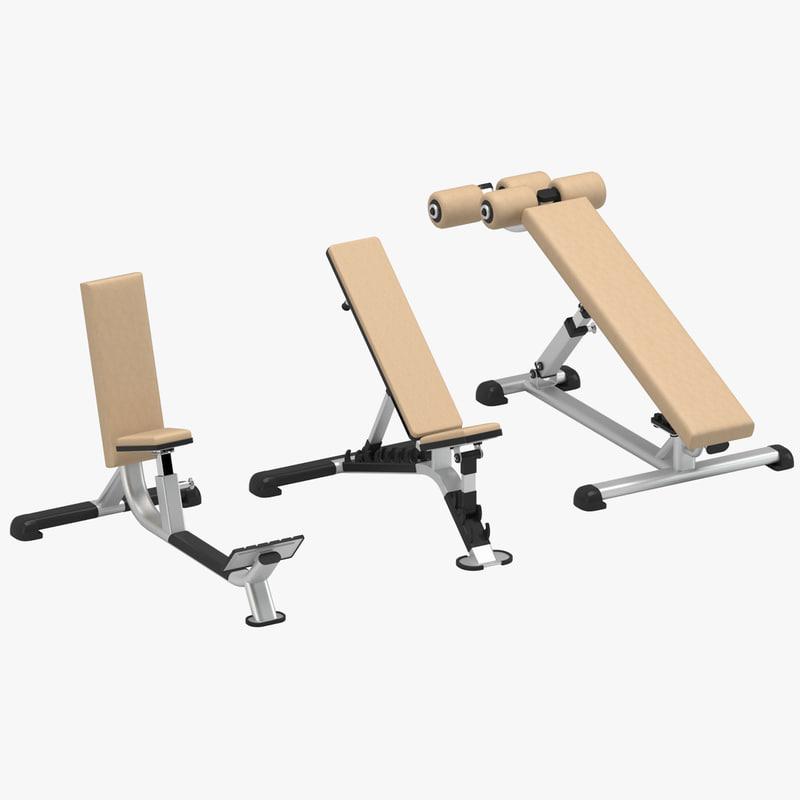gym benches set model