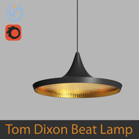 High Poly 3d model of Tom Dixon Beat Wide Pendant Black Lamp (Vray and Corona)
