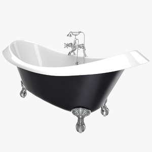 vintage bathtub devon black 3D model