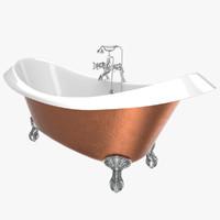3D vintage bathtub devon copper