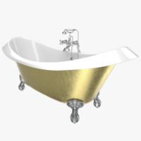 3D model vintage bathtub devon gold
