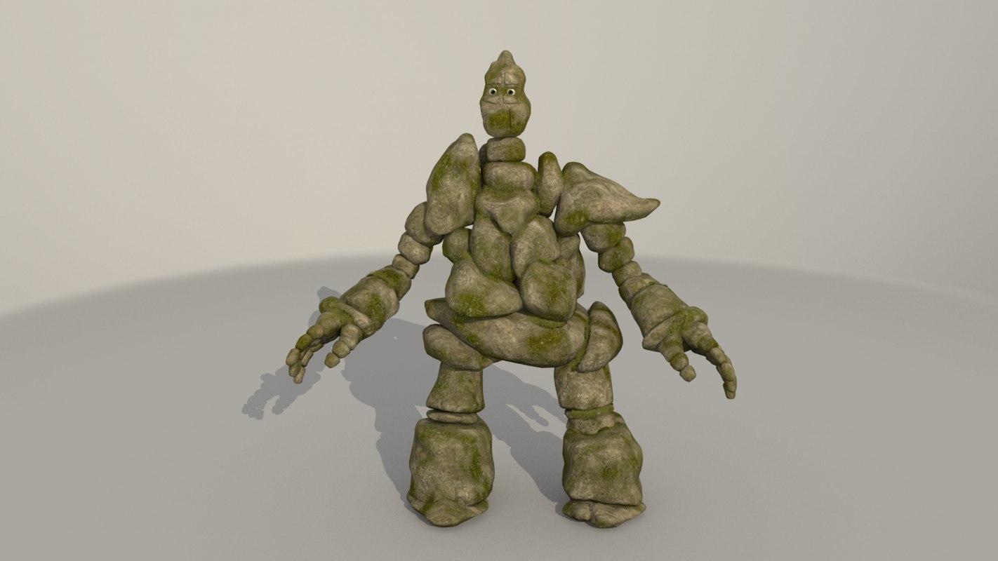 3D rock creature