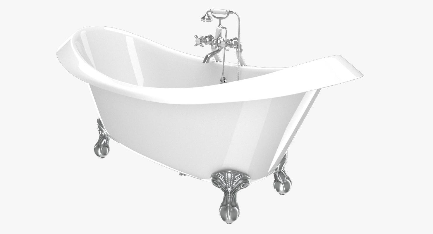 vintage bathtub devon white 3D model