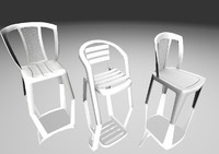 plastic chairs 3D