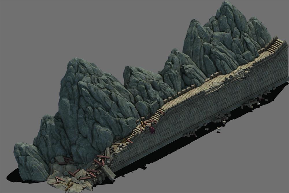 stone wall mountain 3D model