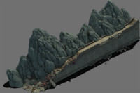 stone wall mountain 3D model