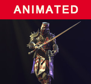 knight rigged animation 3D model