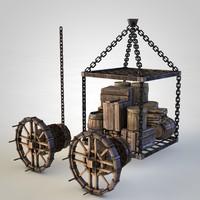 3D model medieval elevator
