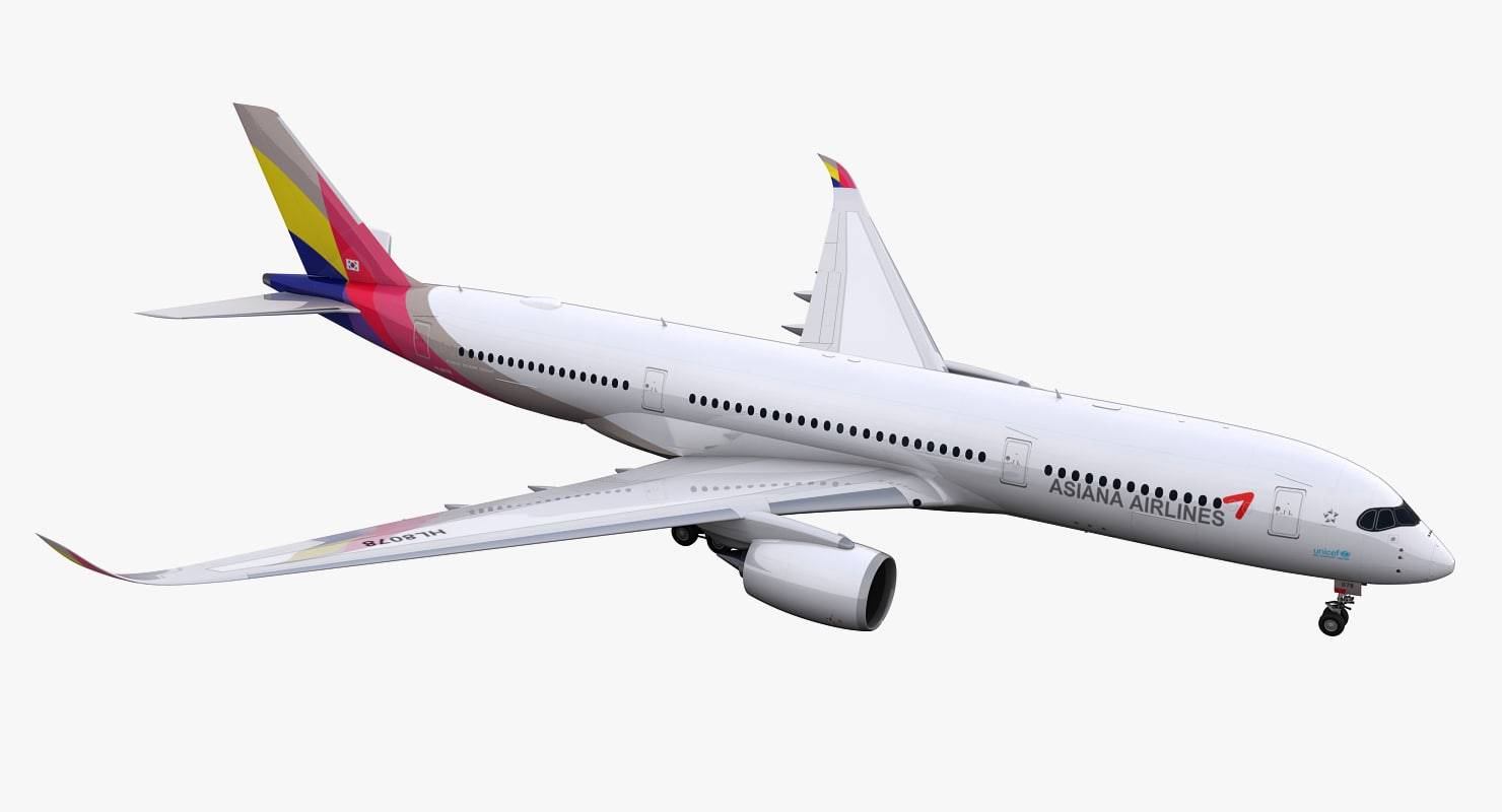 3D a350-900 asiana airlines model