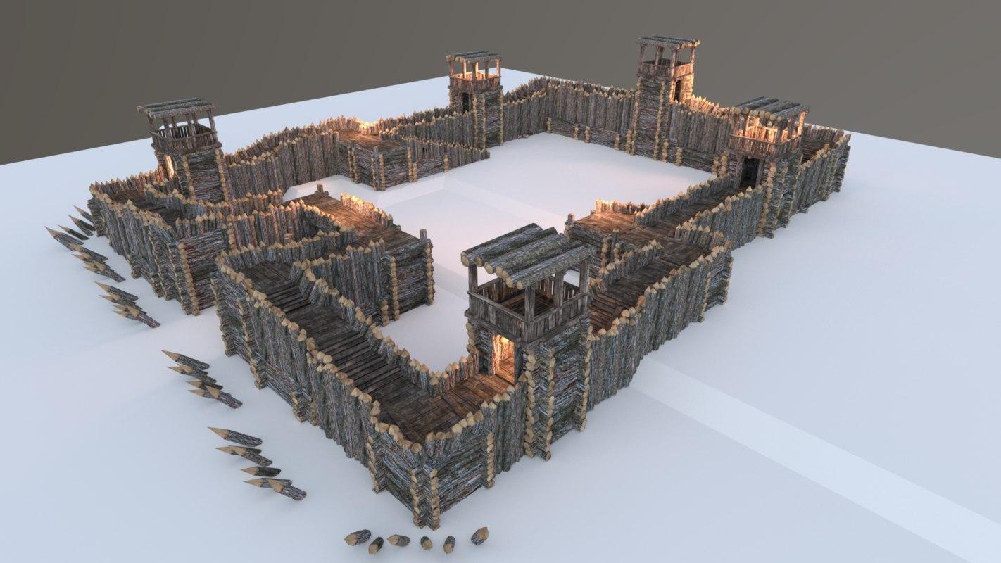 3D model wooden wood medieval