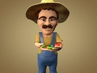 3D model farm farmer garden