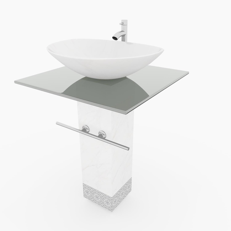 glass marble bowl sink 3D model