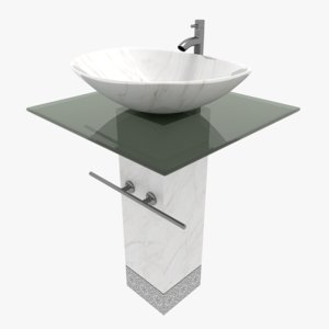 glass marble bowl sink 3D model
