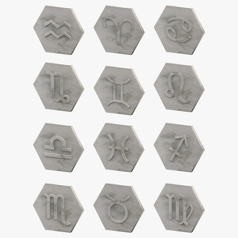 decor zodiac signs 3D model