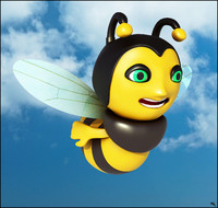 3D model bee toon cartoon