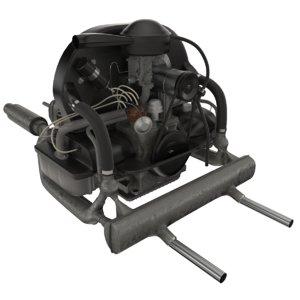 volkswagen beetle engine 3D model
