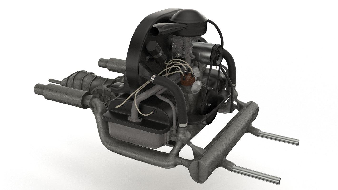 volkswagen beetle engine 3D model; volkswagen beetle engine 3D model ...