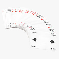 3D playing cards red deck