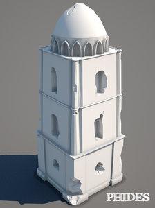 3D ancient ruins untextured model