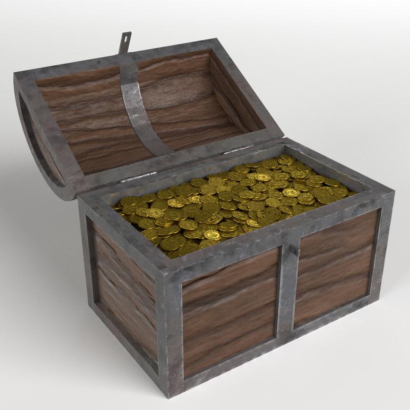golden treasure chest 3D