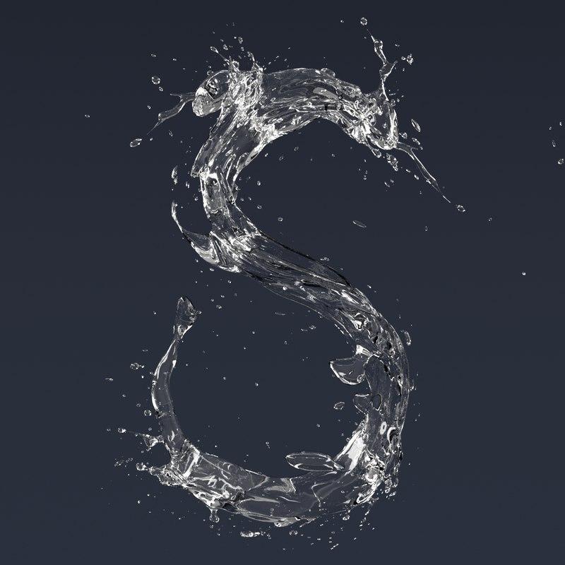 letter s splash 3D model