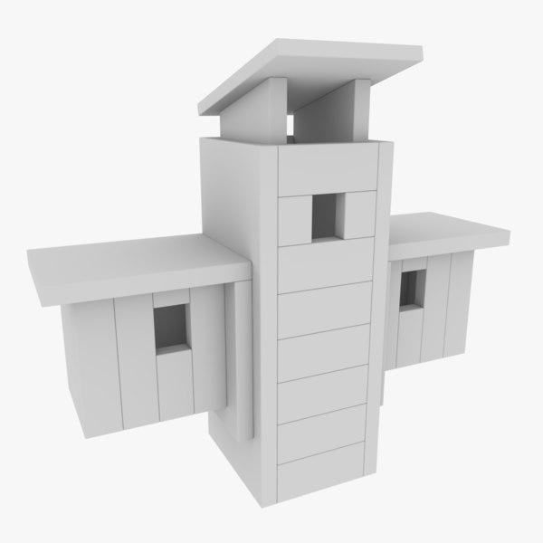 3D subdivision birdhouse blender model