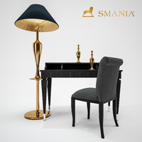 smania chair wood desk lamp 3D model