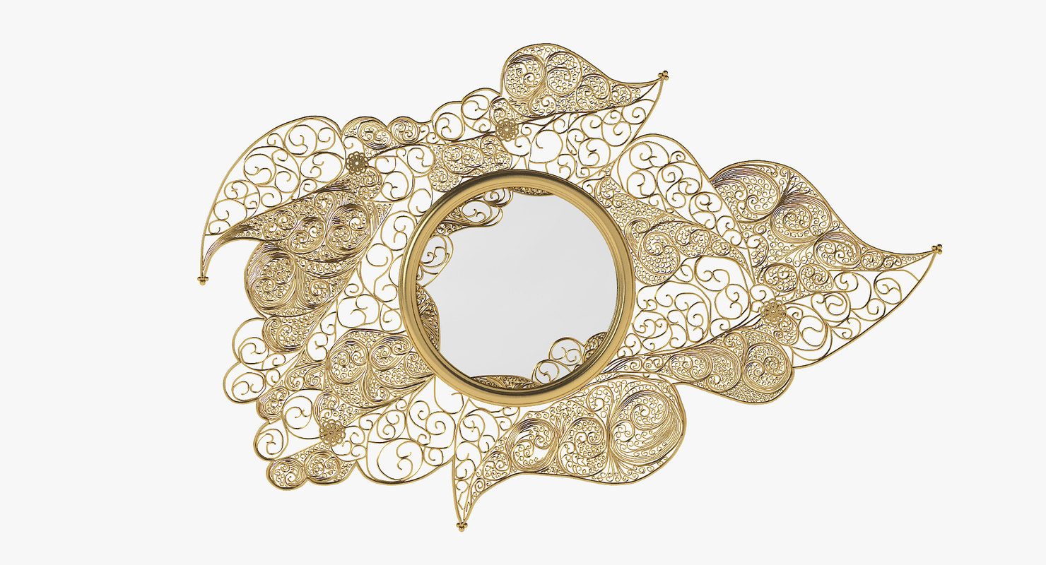 boca lobo filigree wall mirror 3D model