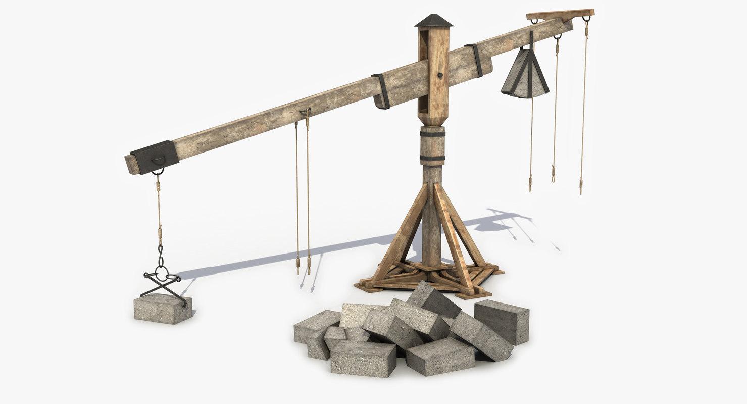 wooden crane medieval 3D model