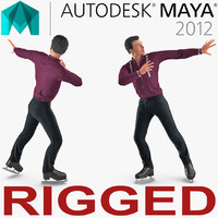 Male Figure Skater Rigged for Maya 3D Model