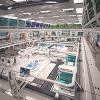 futuristic sci fi laboratory 3D