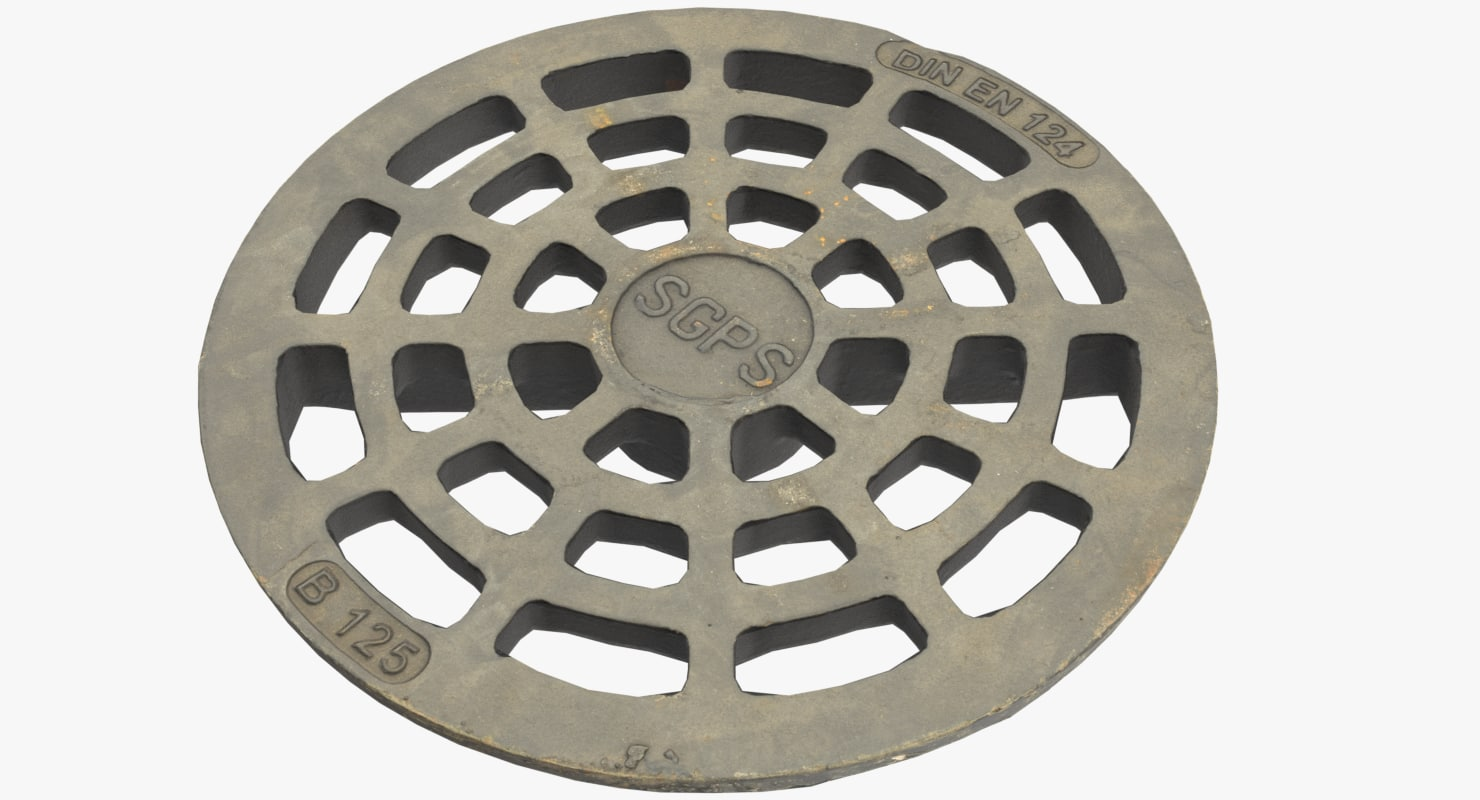3D sewer cover lod pbr model