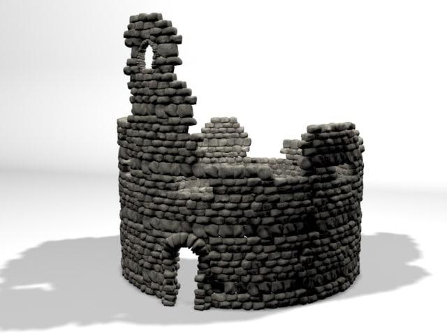 3D ruin tower model