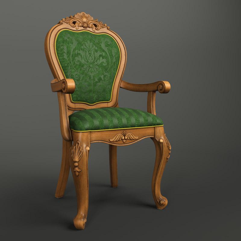 3D classical wooden chair model