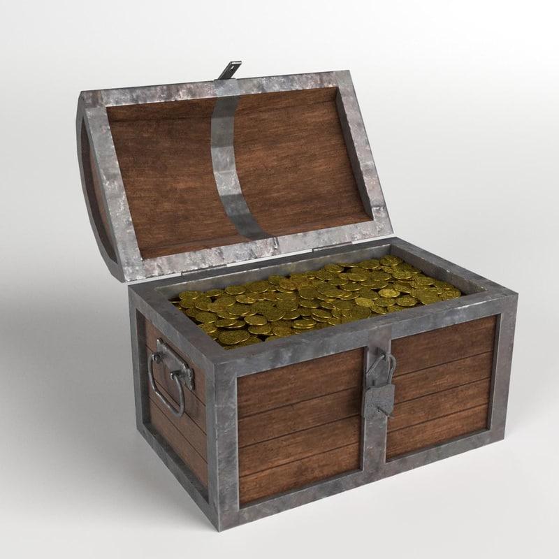 treasure chest padlock coins 3D