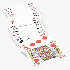 playing cards red deck 3D model