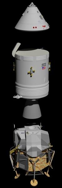 apollo command service lunar module 3D model