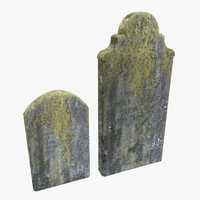 Tombstones with yellow moss
