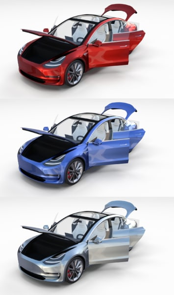 pack 3 tesla interior 3D model